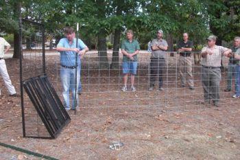 Cory Heaton demonstrates how to set up a hog trap