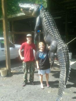 Hunter Frady (left) won an hour-long battle with this 12-foot alligator last Saturday in the Santee River.