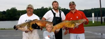 Bubba Owens, Keaton Moore, Brandon Tate and Jachob Moore (front), won the Sept. 15 NCCATS at High Rock with 92.1 pounds of cats, including a 52.4-pound flathead that was biggest ever caught at High Rock in an NCCATS event.<br />
