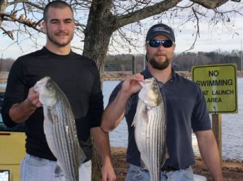 Josh Koontz and Jake Henderson won the Komen striper tournament with these two fish, which weighed 16.7 pounds.
