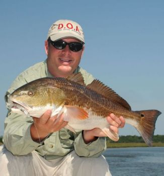 Guide Jeff Yates relies on artficial shrimp to catch plenty of fall redfish in his home waters of the Wando River.