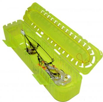 RigRaps are plastic boxes designed to hold pre-tied rigs of various kinds and sizes, like this Alabama rig, color-coded and available with carrying cases.