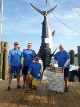 Reel Pleasure's 451.8-pound blue marlin is the fifth-largest weighed in at the Big Rock Blue Marlin Tournament but the biggest weighed in by an outboard-powered boat.