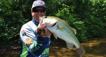 A VMC swimming rugby jighead and a soft-plastic crawfish trailer or creature bait will provide the smaller profile that's often needed to catch fall bass.