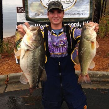 Mike Corbishley shows off two of his 5-bass limit that gave him the win at the Cashion College Clash this past weekend.