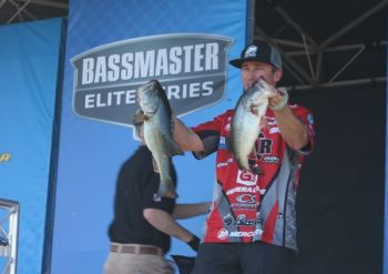 Britt Myers of Lake Wylie holds 2nd place in the Huk Performance Fishing Bassmaster Elite Series event at Winyah Bay in Georgetown after day one with a weight of 16-8.