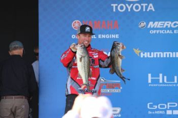 Britt Myers sits in third place leading into the final day of the Huk Performance Fishing Bassmaster Elite at Winyah Bay.