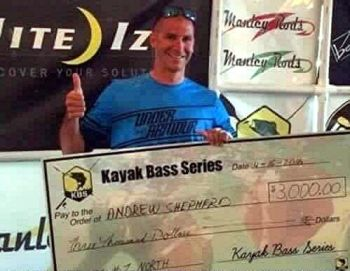 Andrew Shepherd allegedly cheated to win this check, as well as other checks and prizes during local and national kayak fishing tournaments.