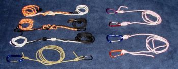 It takes a variety of knots to fit every fishing situation and type of line being used (clockwise from top right): Clinch knot, Improved clinch knot, Uni knot, Palomar knot, No-slip loop knot, Trilene knot, back-to-back Uni knots, Triple surgeon's knot, double surgeon's knot.