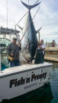 Tommy Adkins (left) and Stephen Lilly (right) caught this big bluefin out of Beaufort Inlet, N.C. The tuna weighed over 800 pounds.