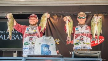 Gettys Brannon (left) and Patrick Walters (right) of the University of South Carolina lead the 2017 YETI FLW College Fishing National Championship after day 1.