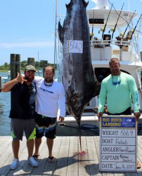 Rehab's 506-pound blue marlin was good enough to move into 2nd place on the overall leaderboard with one day left at the 2017 Big Rock Blue Marlin Tournament.