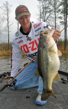 Josh Hooks of Raleigh said the thermocline helps push shad and bass toward the surface at Shearon Harris Lake this month.