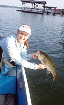 Bass pro Martha Goodfellow said that heading well up into Lake Hartwell's two tributary rivers, the Seneca and Tugaloo, will greatly inhance your chances of catching more and better August bass.