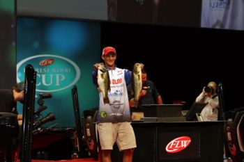 Brandon Cobb of Greenwood, SC is in third place after the first day of the 2017 FLW Forrest Wood Cup.