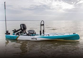 BOTE won Best in Show at ICAST for its Rover paddleboard that is rigged to accept a small outboard motor.