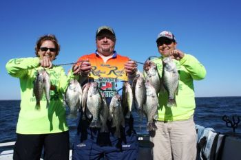 September marks the beginning of great fall crappie fishing on the Santee Cooper lakes, with good fish and good numbers being caught by guides like Kevin Davis of Blacks Camp (far right).