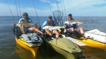 When fishing from a kayak in the nearshore ocean, try to fish with at least one other fisherman for safety purposes.