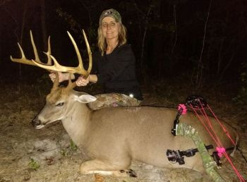 Tootie Morris killed this 135-inch, 12-point buck in Person County while bow hunting with her husband. It's her fifth Pope & Young buck.