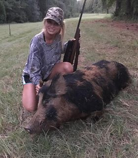 Brooke Aden of Mt. Pleasant killed this huge hog in Berkeley County