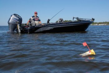 Planer boards work in conjunction with free lines to spread lines so they don't get tangled behind the boat.