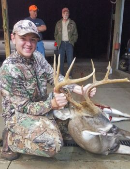 A grunt call helped Chase Tedder of Walnut Cove drop this big Stokes County 10-pointer.