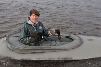 Jennings Rose takes more sea ducks ­— and some divers — when he takes to the Pamlico Sound in a layout boat.