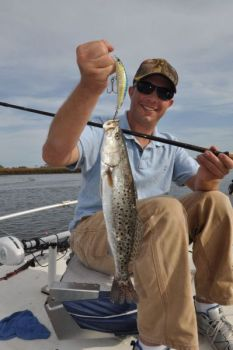 The Yo-Zuri Crystal Minnow is a shallow-running, lipped crankbait that's effective on speckled trout.