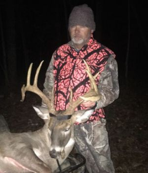 Steve Rabon was surprised to see this big 11-point buck after such a long absence, but he was ready for it, and dropped the deer in its tracks on Nov. 20, 2017.