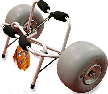 Ballon tires help the Wheeleez kayak cart transport paddleboats from truck or trailer to ramp and water with ease.