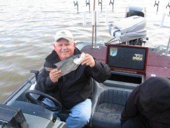 Guide Jerry Neely catches February crappie on Lake Wylie by tight-lining jigs or minnows along creek channels.