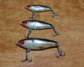 Pick a MirrOlure by size and shape to match baitfish in an area. From top, 14, 17 and 27 sizes.