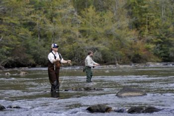 Sections of North Carolina's Tuckasegee River are great spring destination for fishermen interested in taking trout on fly rods.