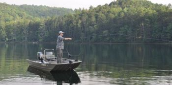 Fishing on Apalachia Lake in extreme western North Carolina is often directed by water flow through Hiwassee Dam and then a pumpback feature that returns it to the larger, upstream lake.
