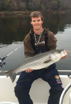 Guide Colt Bass said plenty of quality Lake Hickory stripers will be caught this month as the spawn winds down.