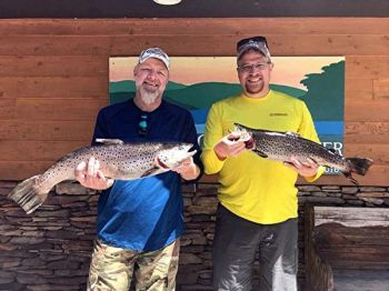 Roger Kendrick of Townville, SC and Billy Lewis of Liberty, SC doubled up on citation brown trout on Saturday, April 21 while trolling spoons behind downrigger balls.