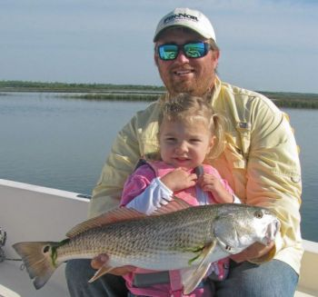 Guide Robbie Hall and daughter Lauren ran into this nice red in the marshes around Swansboro.
