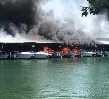 Dock 6 at Portman Marina caught fire after noon on Monday, May 14 when a boat generator backfired.