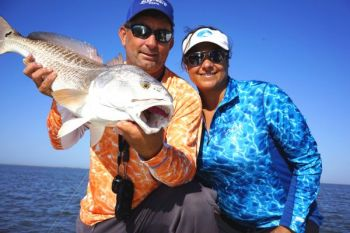 Capt. Brent Ballay and Meredith Ballay, of Cast n Blast Fishing Charters in Venice, LA both accomplished anglers, recommend Cool Breeze performance shirts.