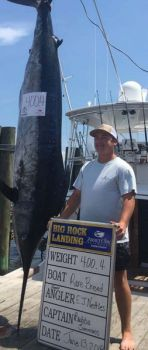 E.J. Nettles caught this 400.4-pound blue marlin on Day 3 of the 2018 Big Rock Blue Marlin Tournament while fishing aboard the Sullivan's Island, SC-based Rare Breed.