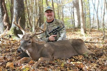 Pete Rogers killed this fine South Carolina buck with a Ruger Blackhawk  in .44 Remington Magnum with a Bushnell 2X scope.