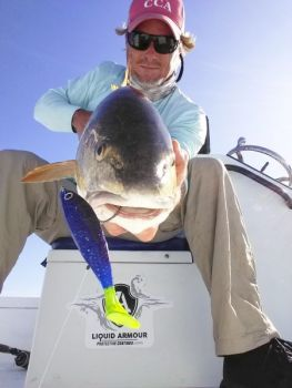 Guide Rennie Clark of Carolina Beach, N.C., likes soft-plastic, artificial lures in blue colors when he's targeting bull reds in the fall.