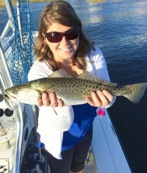 Speckled trout get active around Little River Inlet when the water temperature drops into the mid-60s.