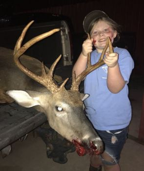 Kennady Bearden killed this buck with the help of a cell phone that was mounted in a way that allowed her to see what the scope was seeing. She is too small to look through the scope and pull the trigger at the same time.