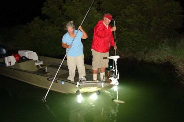 Flounder gigging is a popular past time along north for Homemade fishing light